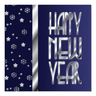 O convite de prata de ano novo das estrelas e dos
