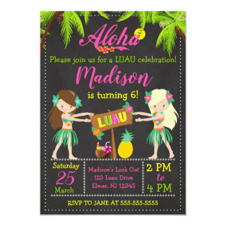 O convite do aniversário de Luau Aloha convida