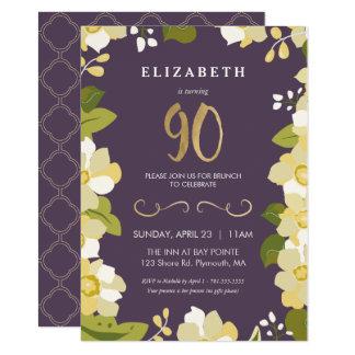 o convite do aniversário do 90, personaliza floral