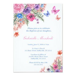 O convite do baptismo, baptismo floral, Boho