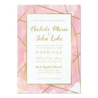 O convite do casamento da folha de ouro de Geo