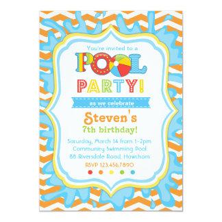 O convite/festa na piscina da festa na piscina convite 12.7 x 17.78cm