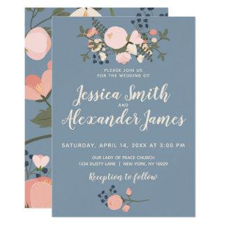 O convite floral azul empoeirado do casamento cora