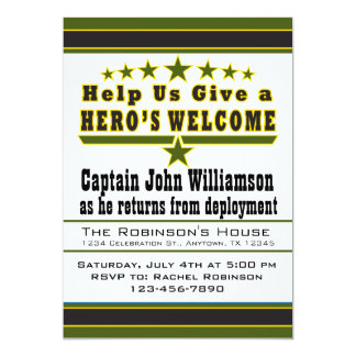 O convite Home bem-vindo do herói do exército