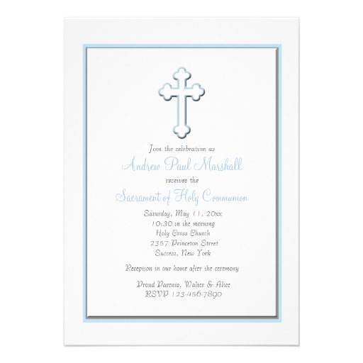 O convite religioso transversal azul do menino