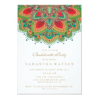O convite verde da festa de solteira da mandala