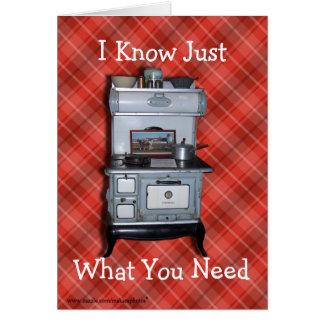 O Cookstove de madeira antigo 2 personaliza toda a Cartão Comemorativo