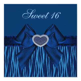 O coração animal do impressão & da jóia do azul do convites