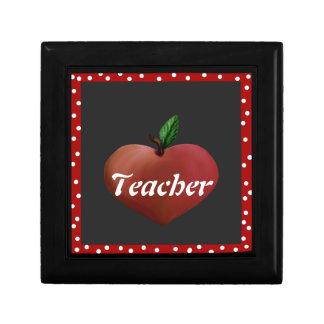 O coração Apple do professor telha a caixa Caixa De Presente Quadrada Pequena
