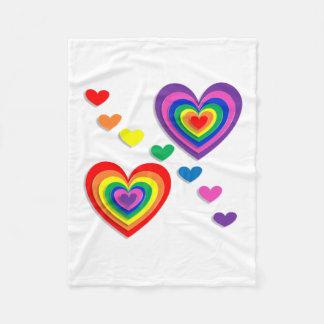 o coração colore o arco-íris cobertor de velo