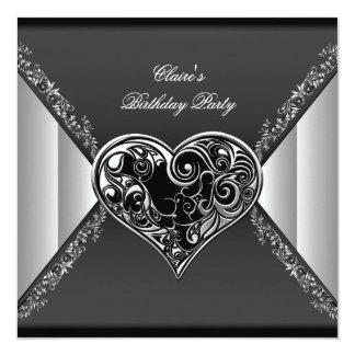 O coração de prata branco preto da festa de convites personalizado