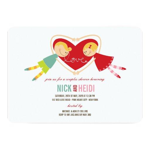 O coração do amor da menina do menino dos desenhos convite 12.7 x 17.78cm