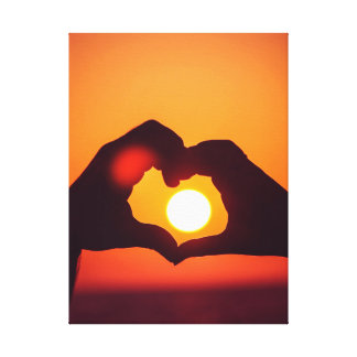 O coração do amor entrega o símbolo impressão em tela