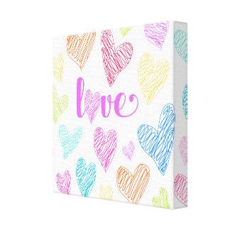 O coração do amor Scribbles o impressão das canvas