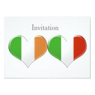 O coração irlandês e italiano embandeira o convite