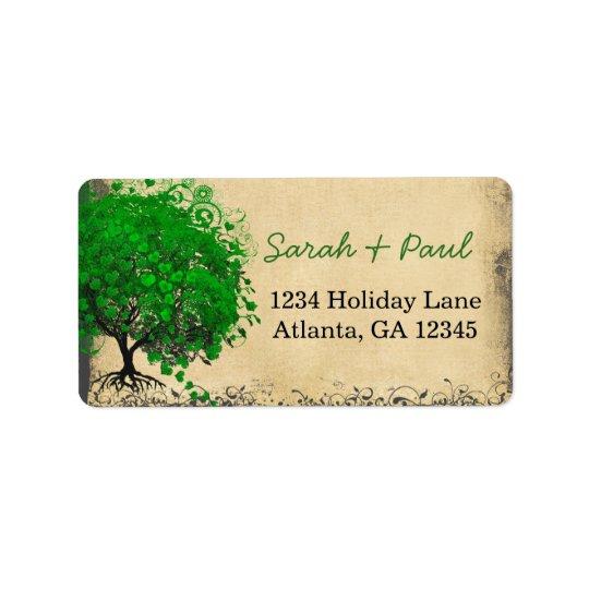 O coração lunático bonito do verde esmeralda etiqueta de endereço