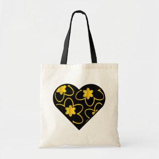 O coração/ouro pretos floresce a sacola bolsa tote