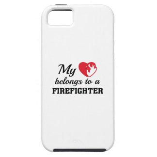 O coração pertence sapador-bombeiro capa tough para iPhone 5