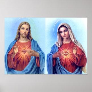 O coração sagrado e o poster imaculado do coração