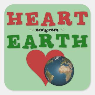O coração vermelho é anagrama para a terra verde adesivo quadrado