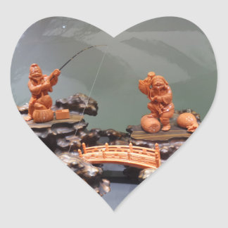 O coral chinês do pescador Crafted a etiqueta do