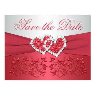 O coral, corações florais cinzentos salvar o cartão postal