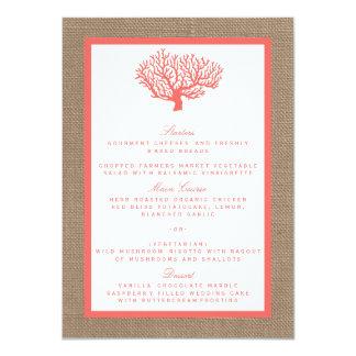 O coral na coleção do casamento de praia de Boho Convite 11.30 X 15.87cm