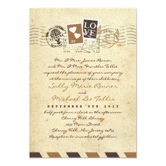 O correio aéreo do vintage carimba o convite da convite 12.7 x 17.78cm