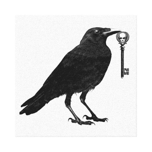 O corvo rouba a chave de esqueleto impressão de canvas envolvidas