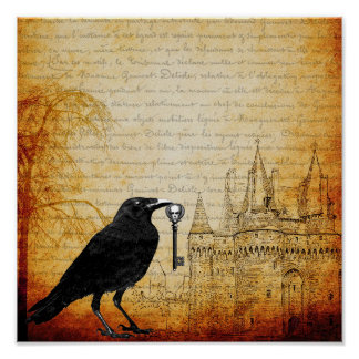 O corvo rouba as chaves à arte do poster do