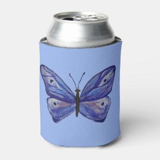 O costume azul da aguarela da borboleta pode porta-lata