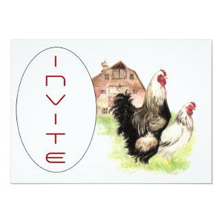 O costume da cena do celeiro da galinha & do galo convites