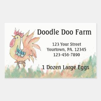 O costume do galo Eggs a etiqueta