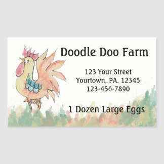 O costume do galo Eggs a etiqueta Adesivo Retangular
