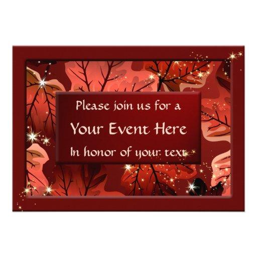 O costume vermelho das folhas de bordo do outono c convites personalizados