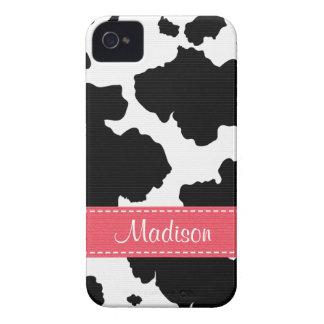O couro cru da vaca mancha o rosa do companheiro capas para iPhone 4 Case-Mate