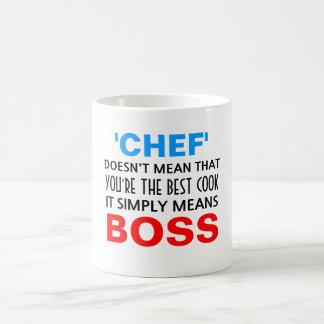 O cozinheiro chefe significa o chefe caneca
