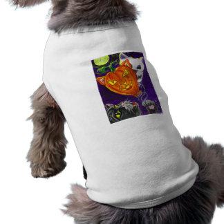 O crânio da abóbora do gato preto Balloons a arte  Roupa Pet