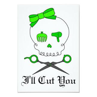 O crânio do cabeleireiro do verde limão & Scissor Convite Personalizado
