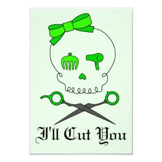 O crânio do cabeleireiro do verde limão & Scissor Convite