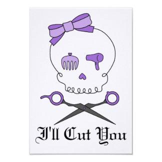 O crânio do cabeleireiro & Scissor Crossbones - Convite Personalizado