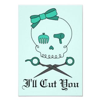 O crânio do cabeleireiro & Scissor Crossbones - Convite 8.89 X 12.7cm