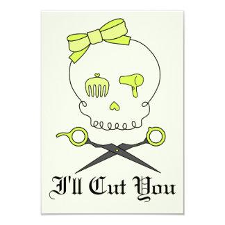 O crânio do cabeleireiro & Scissor os Crossbones - Convite 8.89 X 12.7cm