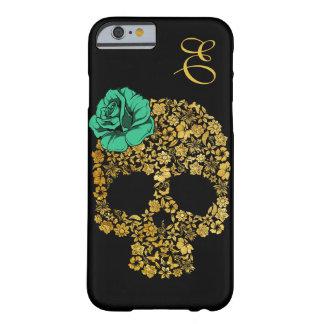 O crânio floral dourado com aumentou caso do capa barely there para iPhone 6