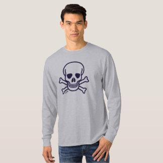 O crânio n desossa a camisa longa cinzenta da luva