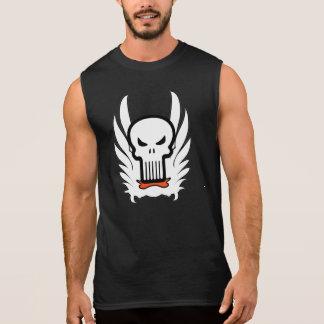 O crânio principal de esqueleto voa o t-shirt regata