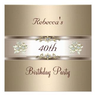 O creme de café elegante Biege do aniversário de 4 Convites