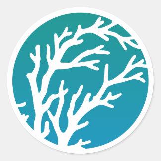 O creme roda a árvore azul adesivo