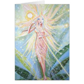 O cristal ilumina a fada - cartão