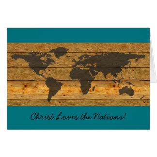 O cristo ama as missões do cartão das nações
